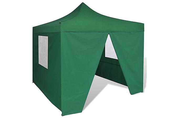 Hopfällbart tält 3 x 3 m 4 väggar grön - Utemöbler - Trädgårdstillbehör - Partytält