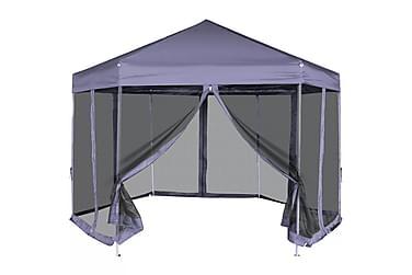 Pop-Up Partytält med 6 sidoväggar sexkantigt 3,6x3,1 m mörkb