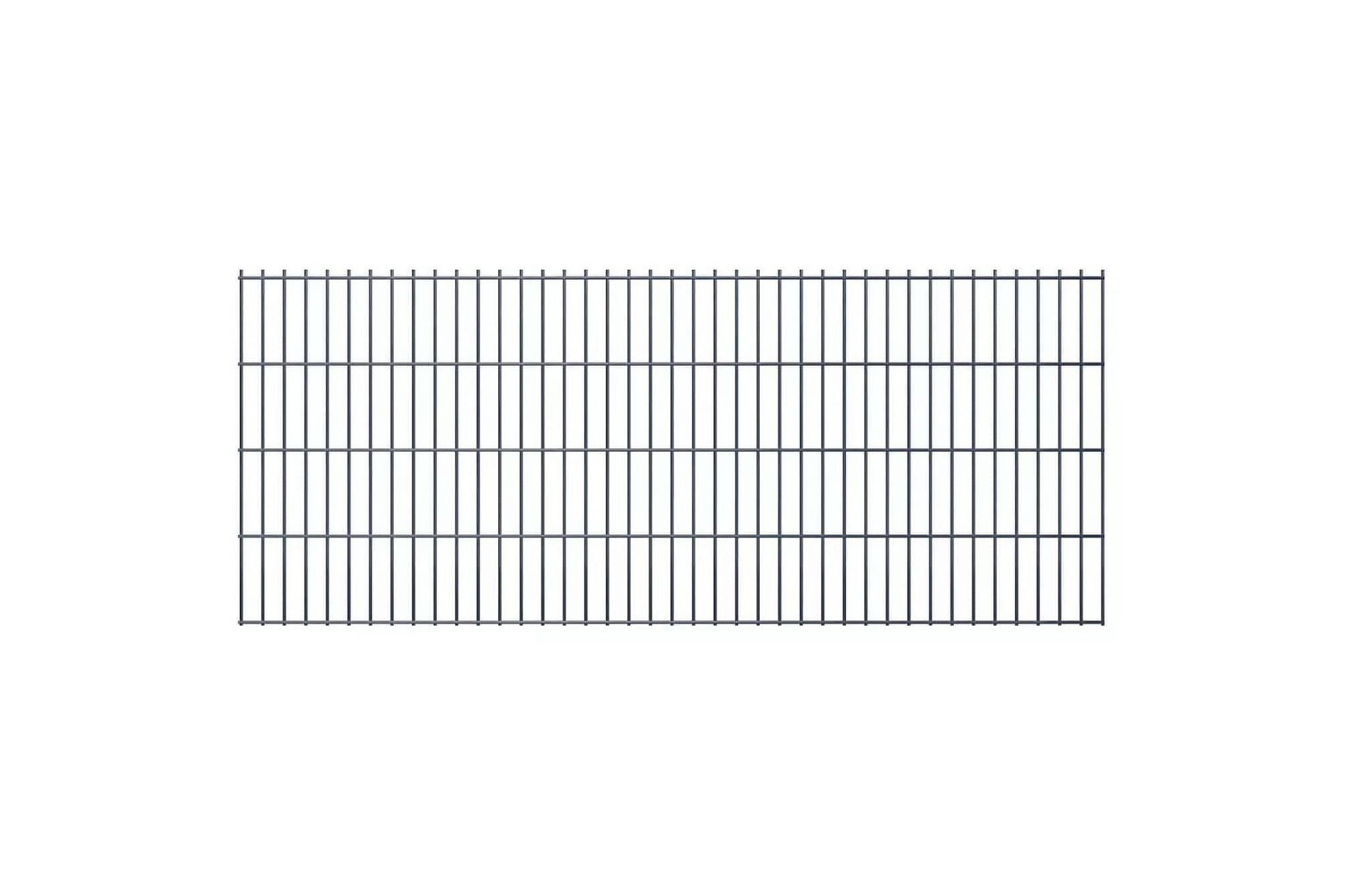2D Stängselpaneler 2,008x0,83 m grå, Staket & grindar