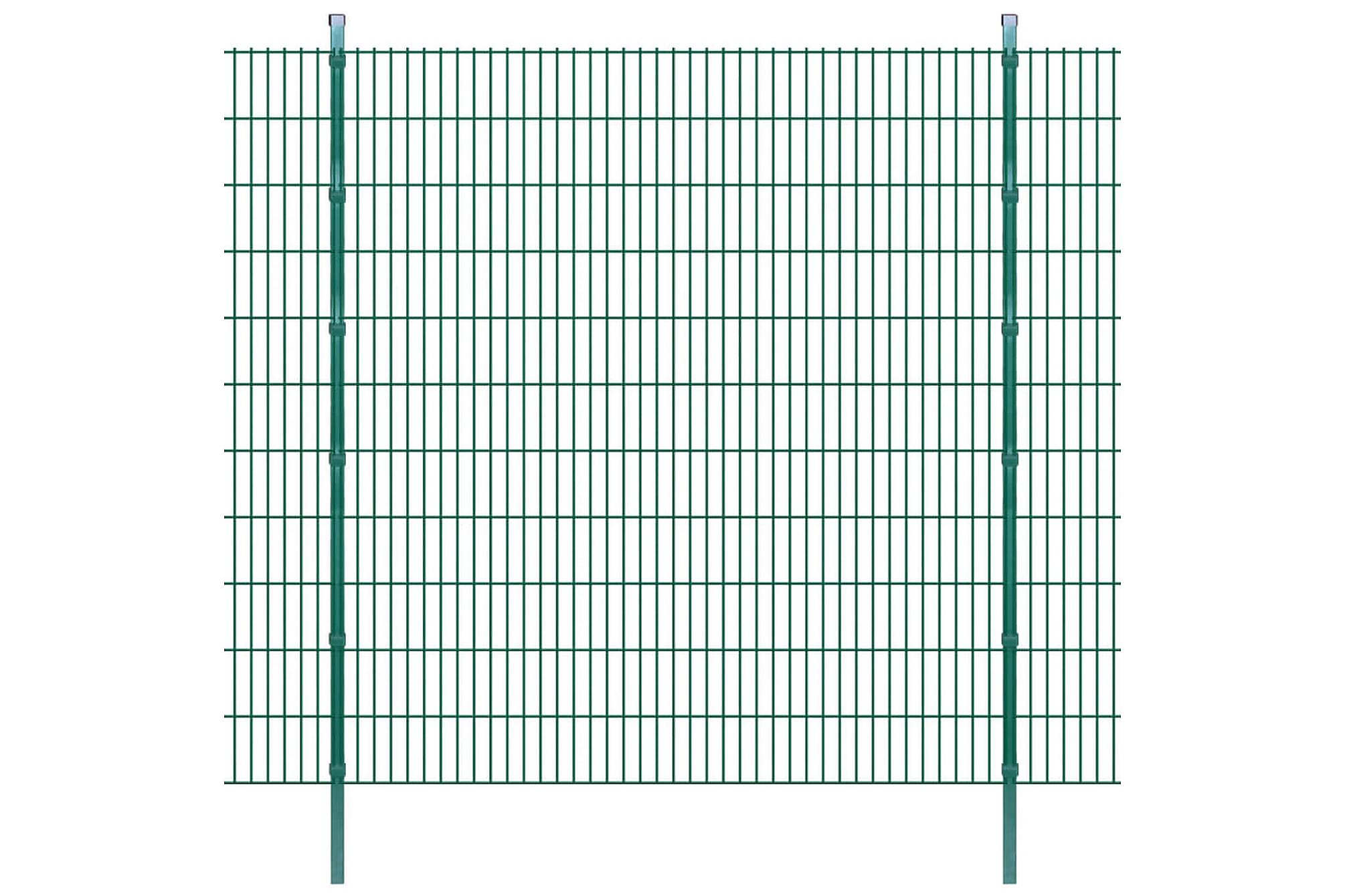 2D Stängselpaneler med stolpar 2008x2230 mm 10 m grön, Staket & grindar