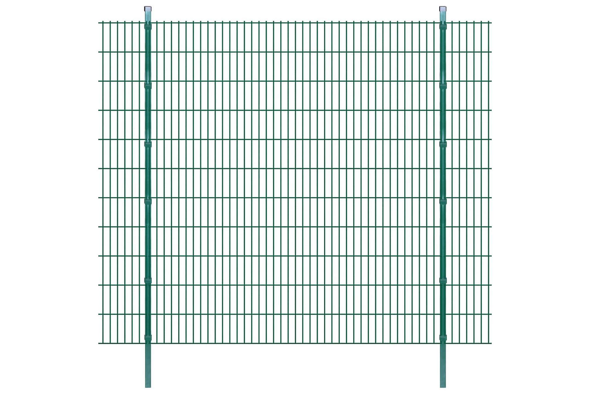 2D Stängselpaneler med stolpar 2008x2230 mm 26 m grön, Staket & grindar