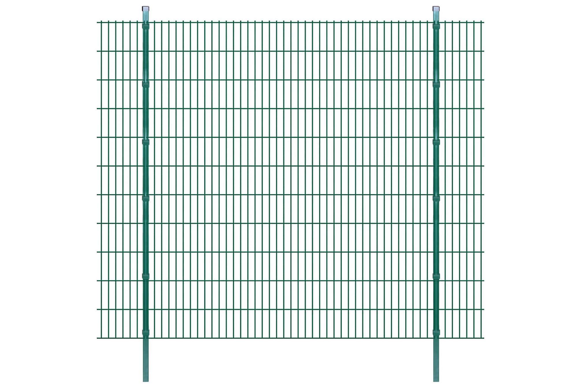 2D Stängselpaneler med stolpar 2008x2230 mm 28 m grön, Staket & grindar