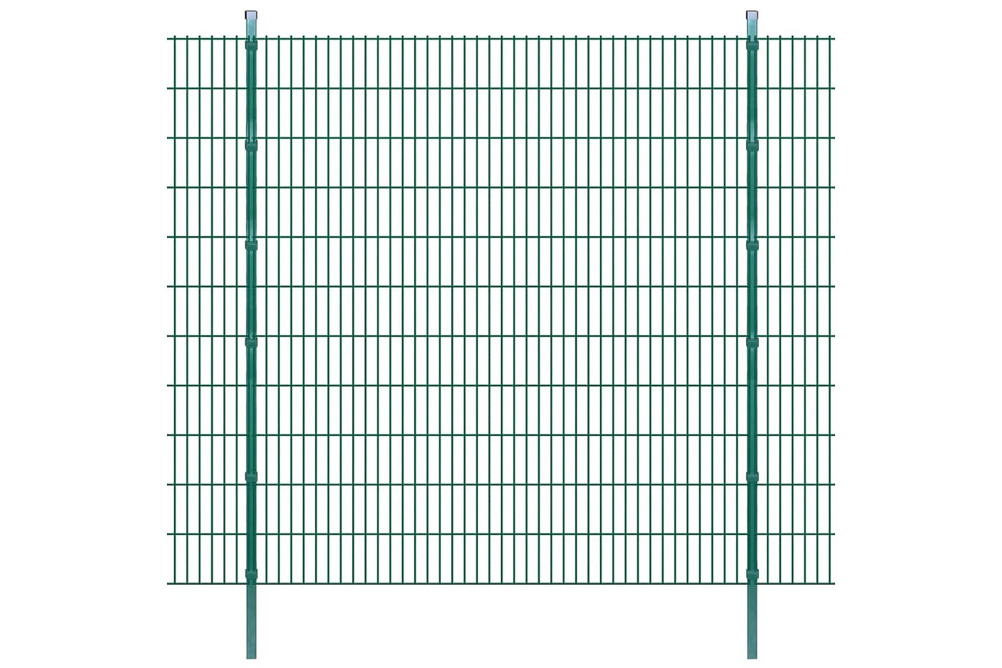 2D Stängselpaneler med stolpar 2008x2230 mm 32 m grön, Staket & grindar