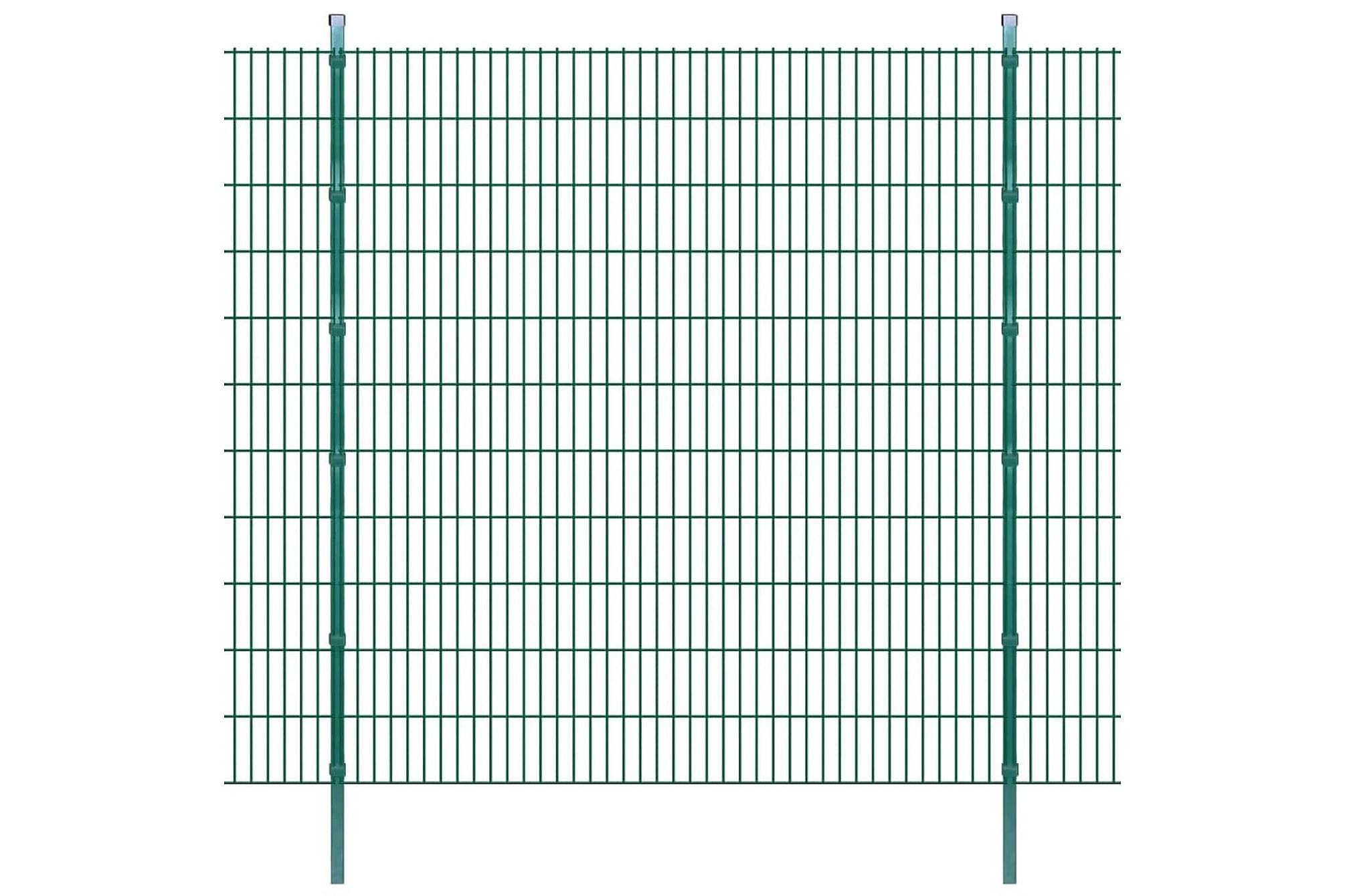2D Stängselpaneler med stolpar 2008x2230 mm 38 m grön, Staket & grindar