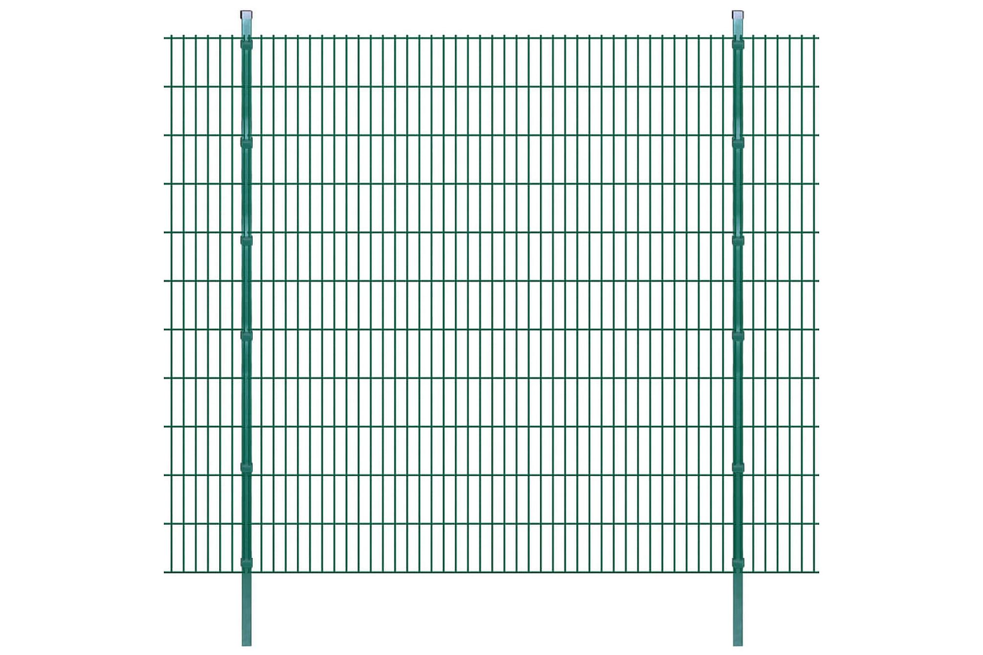 2D Stängselpaneler med stolpar 2008x2230 mm 46 m grön, Staket & grindar