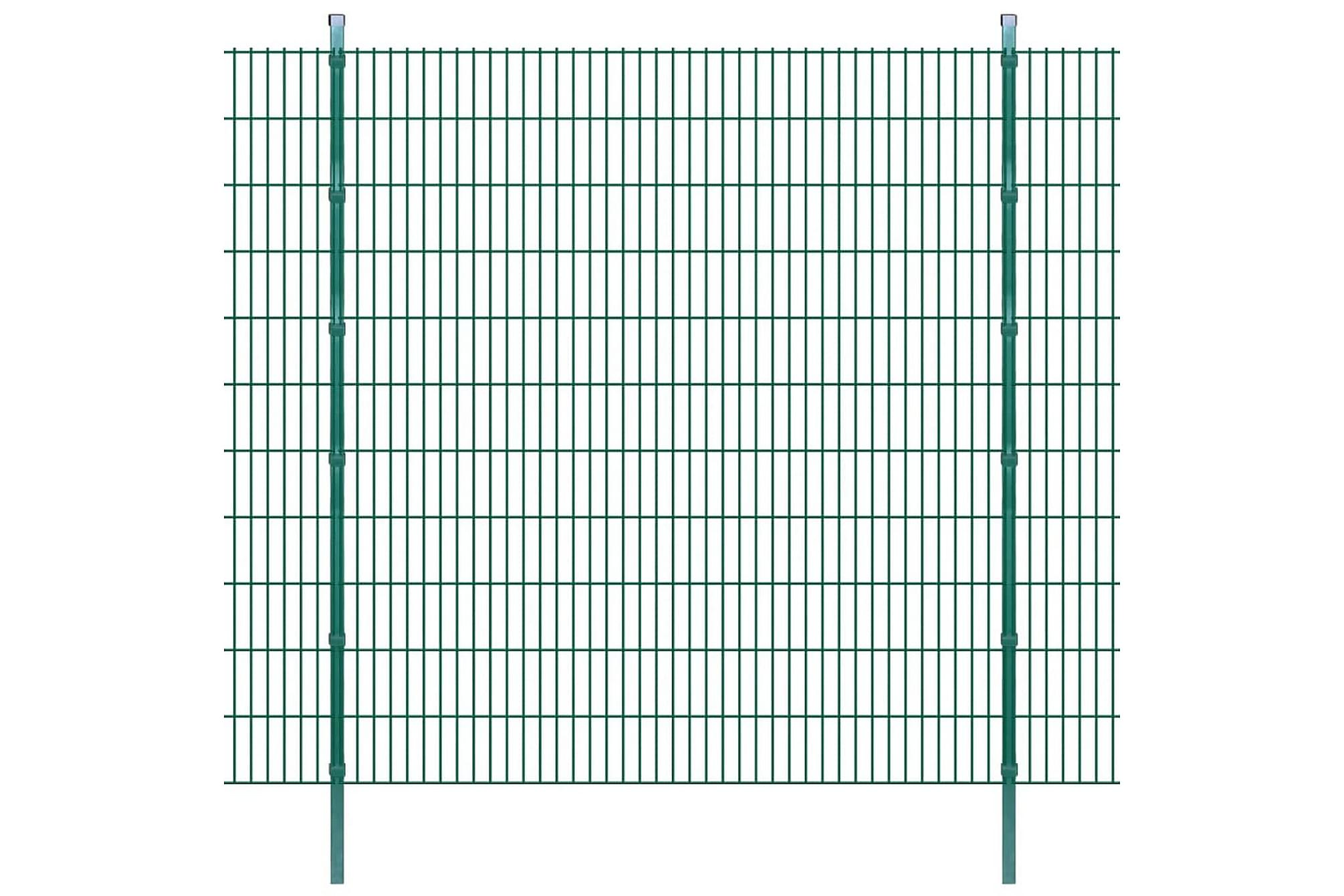 2D Stängselpaneler med stolpar 2008x2230 mm 6 m grön, Staket & grindar