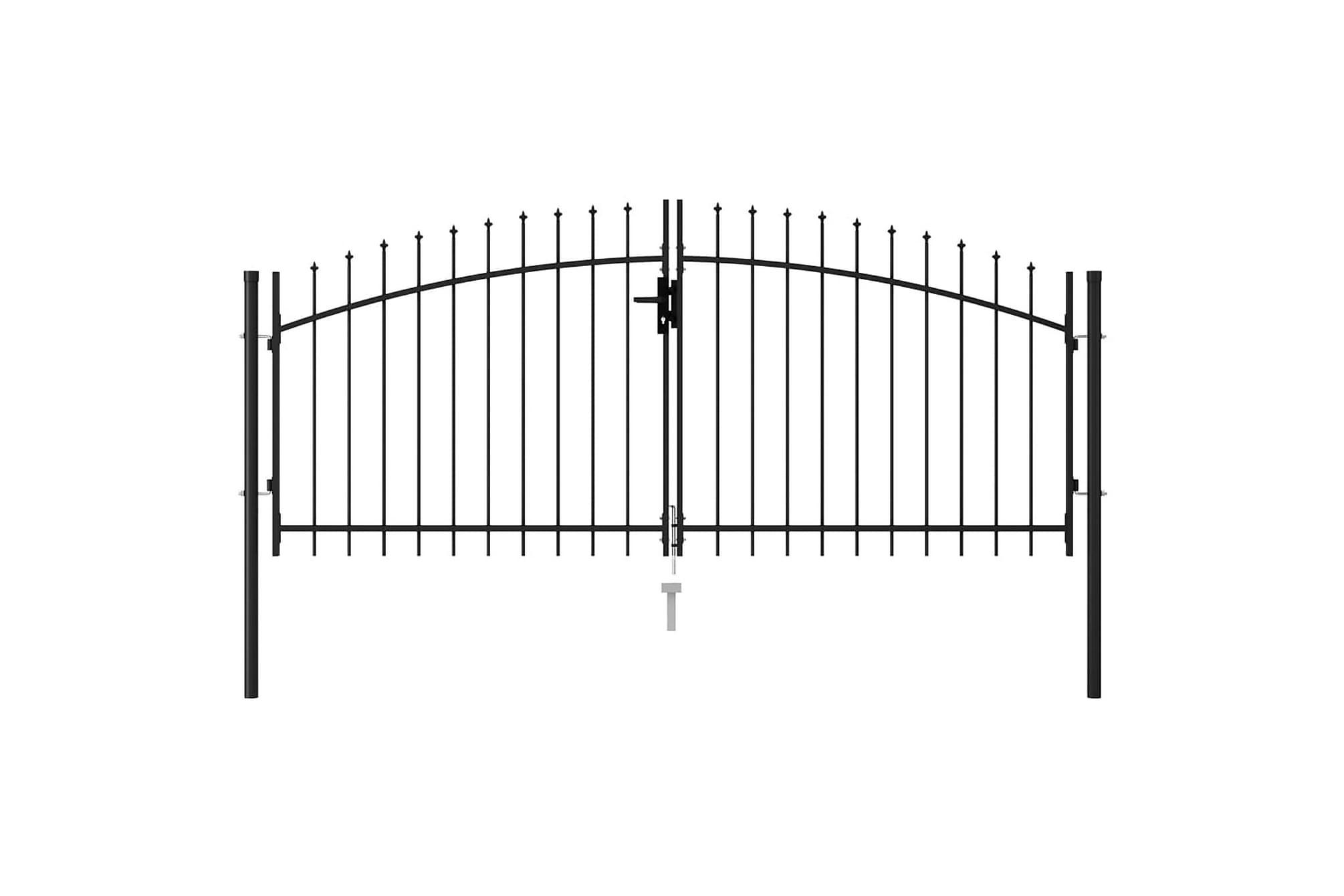 Dubbelgrind med spetsig topp stål 3x1,25 m svart, Staket & grindar