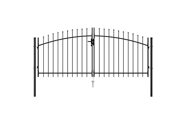 Dubbelgrind med spetsig topp stål 3x1,25 m svart - Svart - Utemöbler - Tillbehör - Staket & grindar