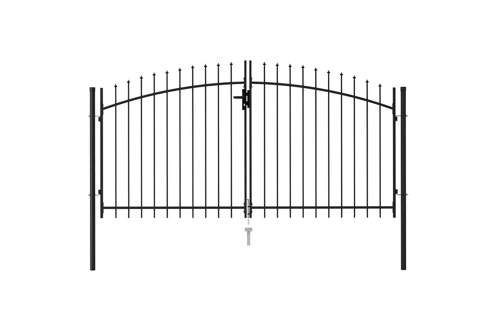 Dubbelgrind med spetsig topp stål 3x1,5 m svart, Staket & grindar