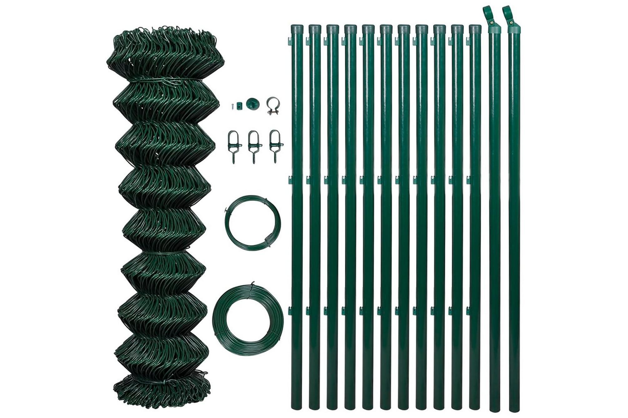 Stängselpaket för flätverksstängsel 1,25 x 25 m grön