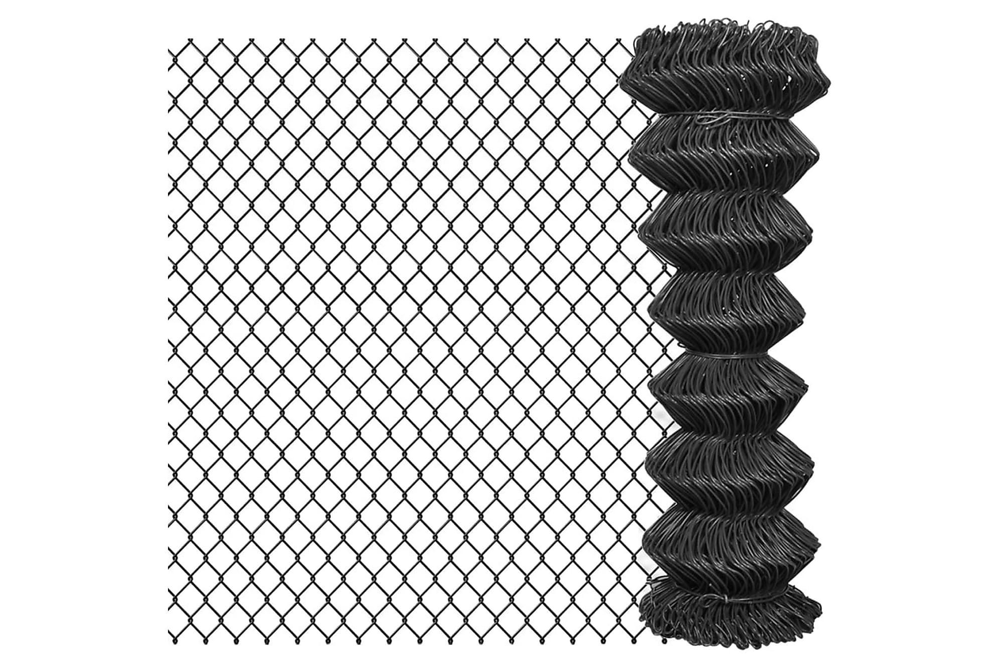 Flätverksstängsel 15×1,25 m stål grå