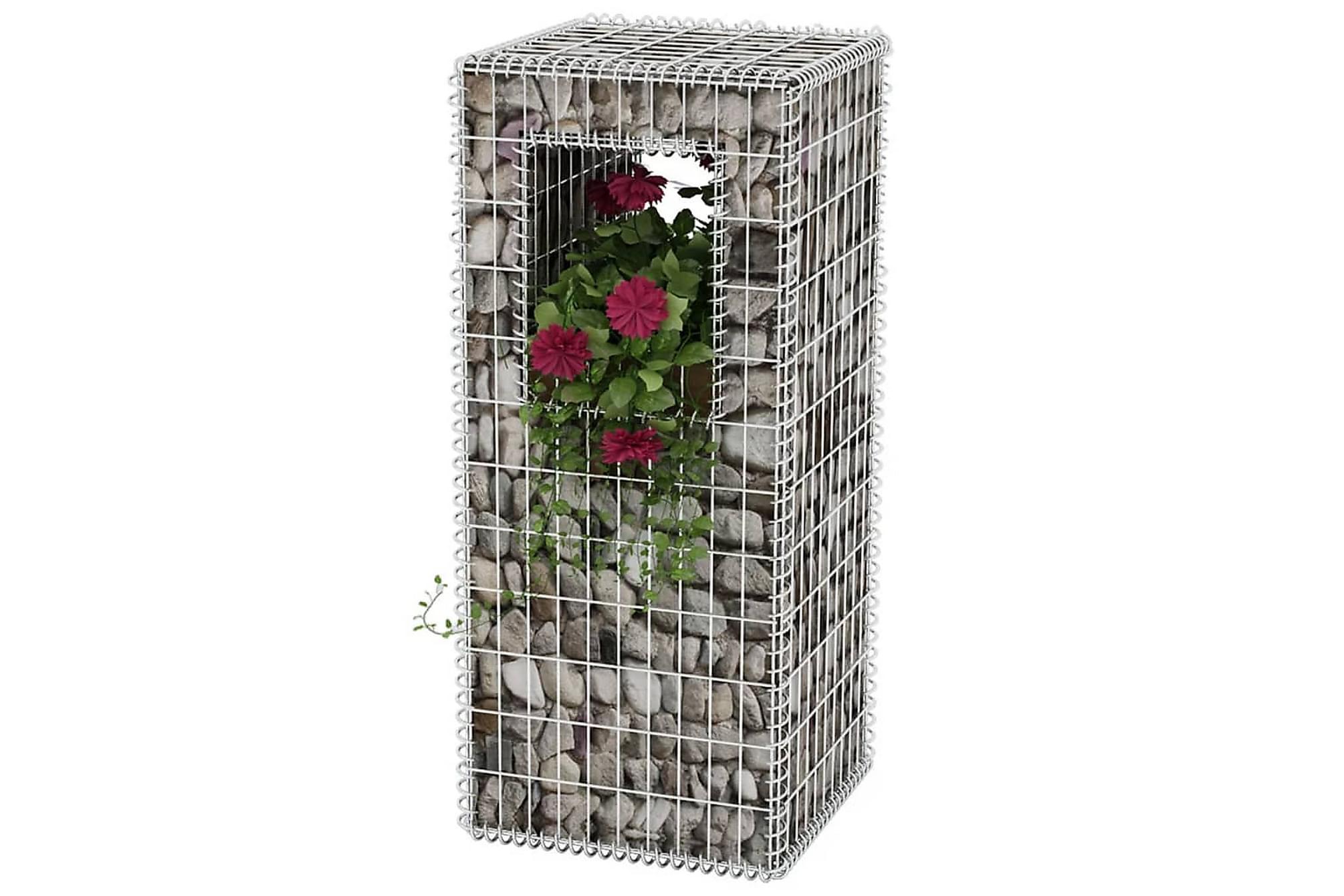 Gabionkorg stolpform stål 50x50x120cm
