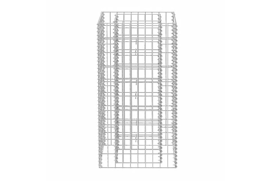 Planteringsgabion upphöjd stål 50x50x100 cm - Silver - Utemöbler - Tillbehör - Övriga trädgårdstillbehör