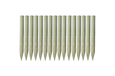 STAKETSTOLPAR spetsiga 16 st 5x100 cm FSC impregnerat trä