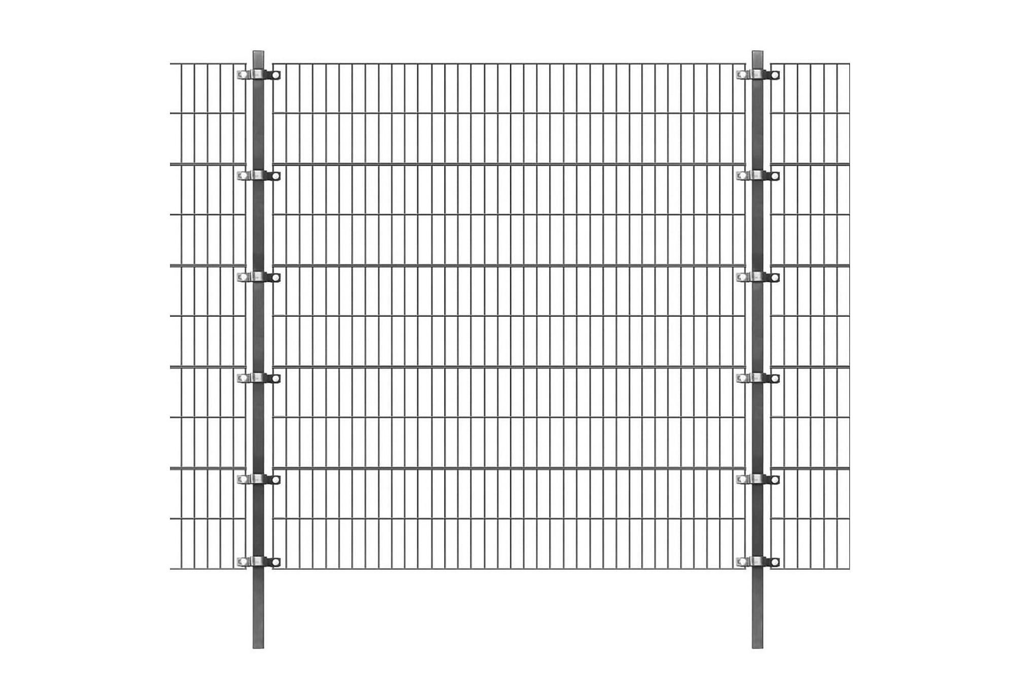 Stängselpanel med stolpar 6×2 m antracit