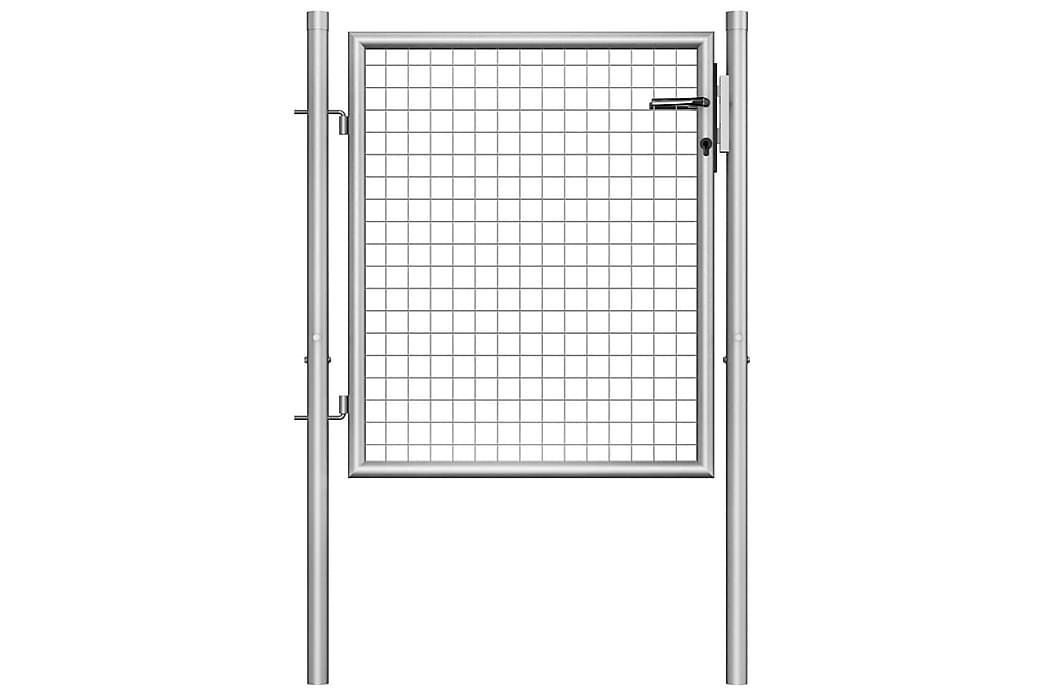 Trädgårdsgrind galvaniserat stål 105x125 cm silver - Silver - Utemöbler - Tillbehör - Staket & grindar