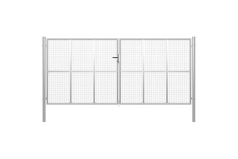Trädgårdsgrind galvaniserat stål 415x225 cm silver - Silver - Utemöbler - Tillbehör - Staket & grindar
