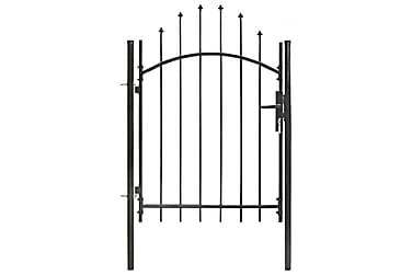 TRÄDGÅRDSGRIND med välvd ovansida 1x1,5 cm stål svart