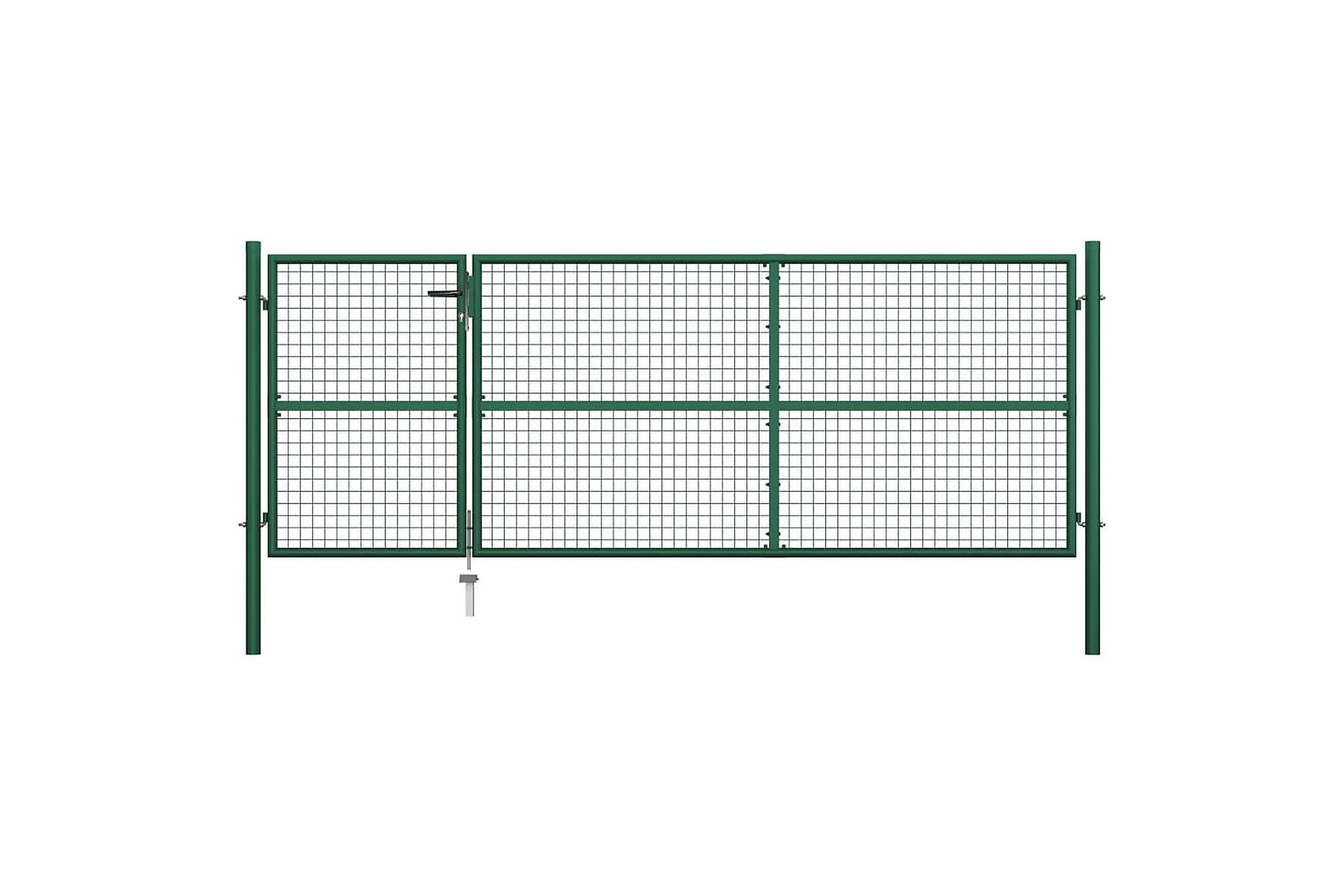 Trädgårdsgrind stål 350×125 cm grön