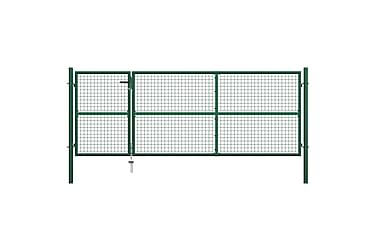 TRÄDGÅRDSGRIND stål 350x125 cm grön
