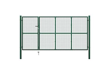 TRÄDGÅRDSGRIND stål 350x150 cm grön