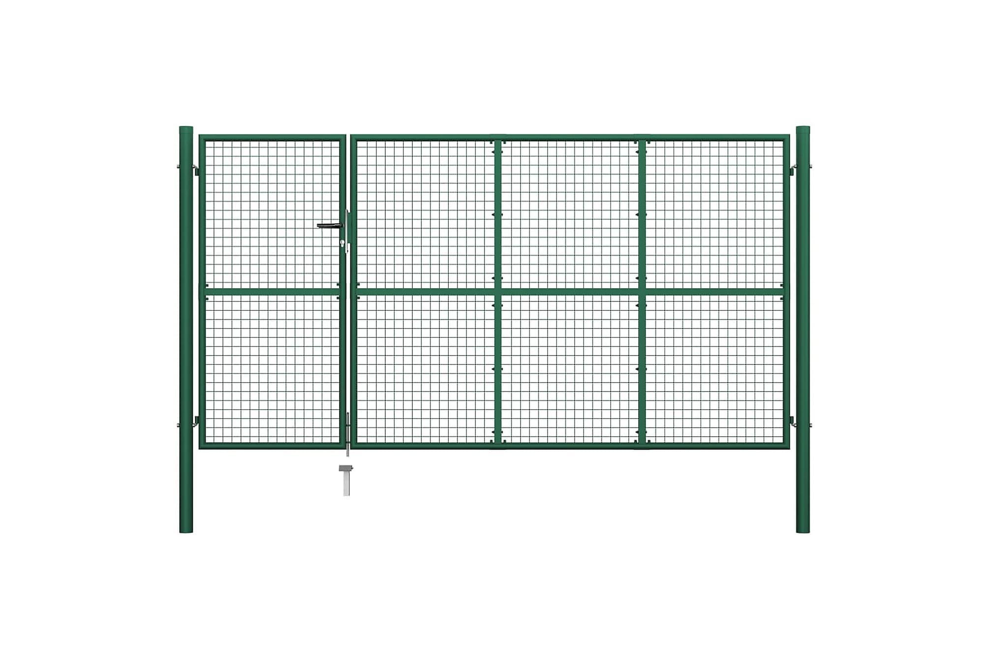Trädgårdsgrind stål 350×175 cm grön