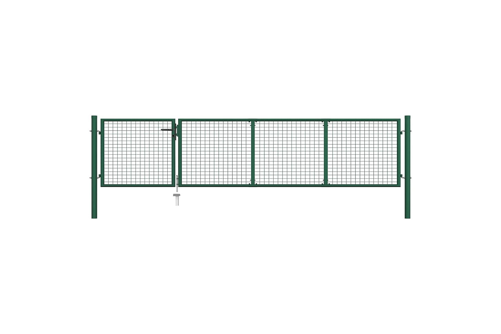 Trädgårdsgrind stål 350×75 cm grön