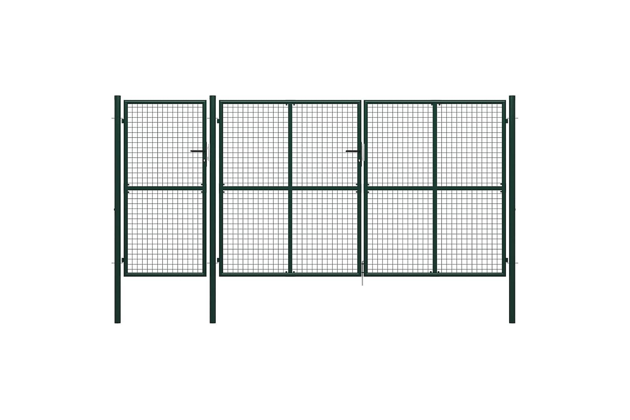 Trädgårdsgrind stål 400×150 cm grön