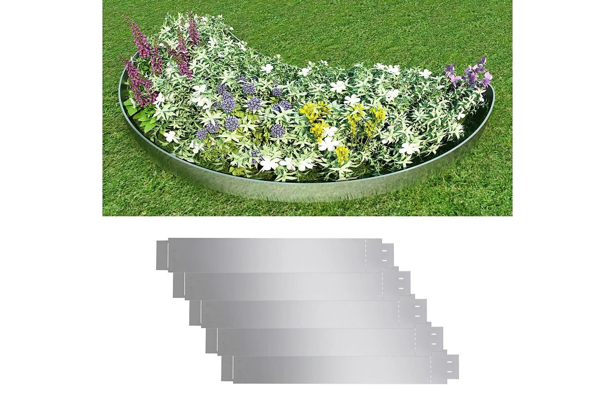 Trädgårdsstaket galvaniserat stål 100 x 15 cm set om 5, Övriga trädgårdstillbehör