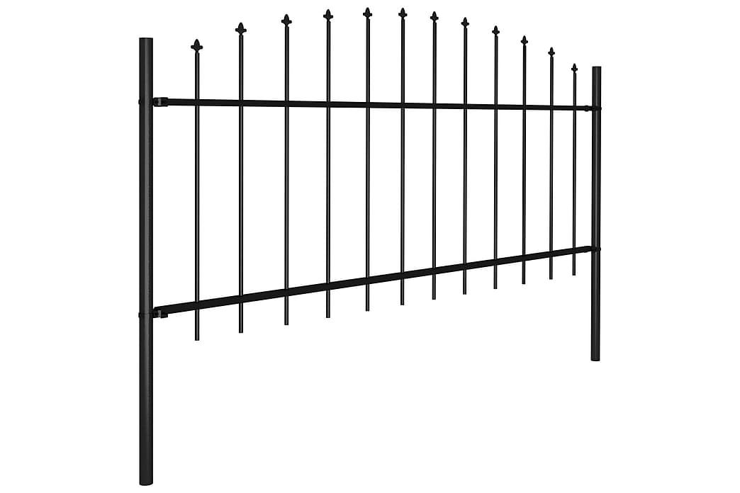 Trädgårdsstaket med spjuttopp stål (0,5-0,75)x1,7 m svart - Svart - Utemöbler - Tillbehör - Staket & grindar