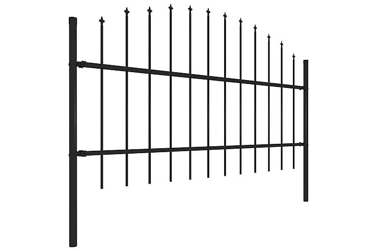 Trädgårdsstaket med spjuttopp stål (0,75-1)x11,9 m svart - Svart - Utemöbler - Tillbehör - Staket & grindar