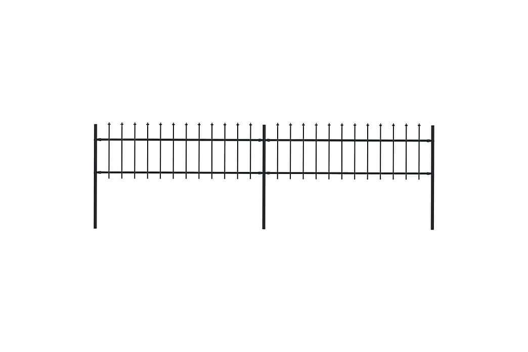 Trädgårdsstaket med spjuttopp stål 3,4x0,6 m svart - Svart - Utemöbler - Tillbehör - Staket & grindar