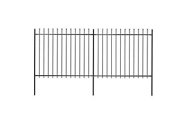TRÄDGÅRDSSTAKET med spjuttopp stål 3,4x1,5 m svart