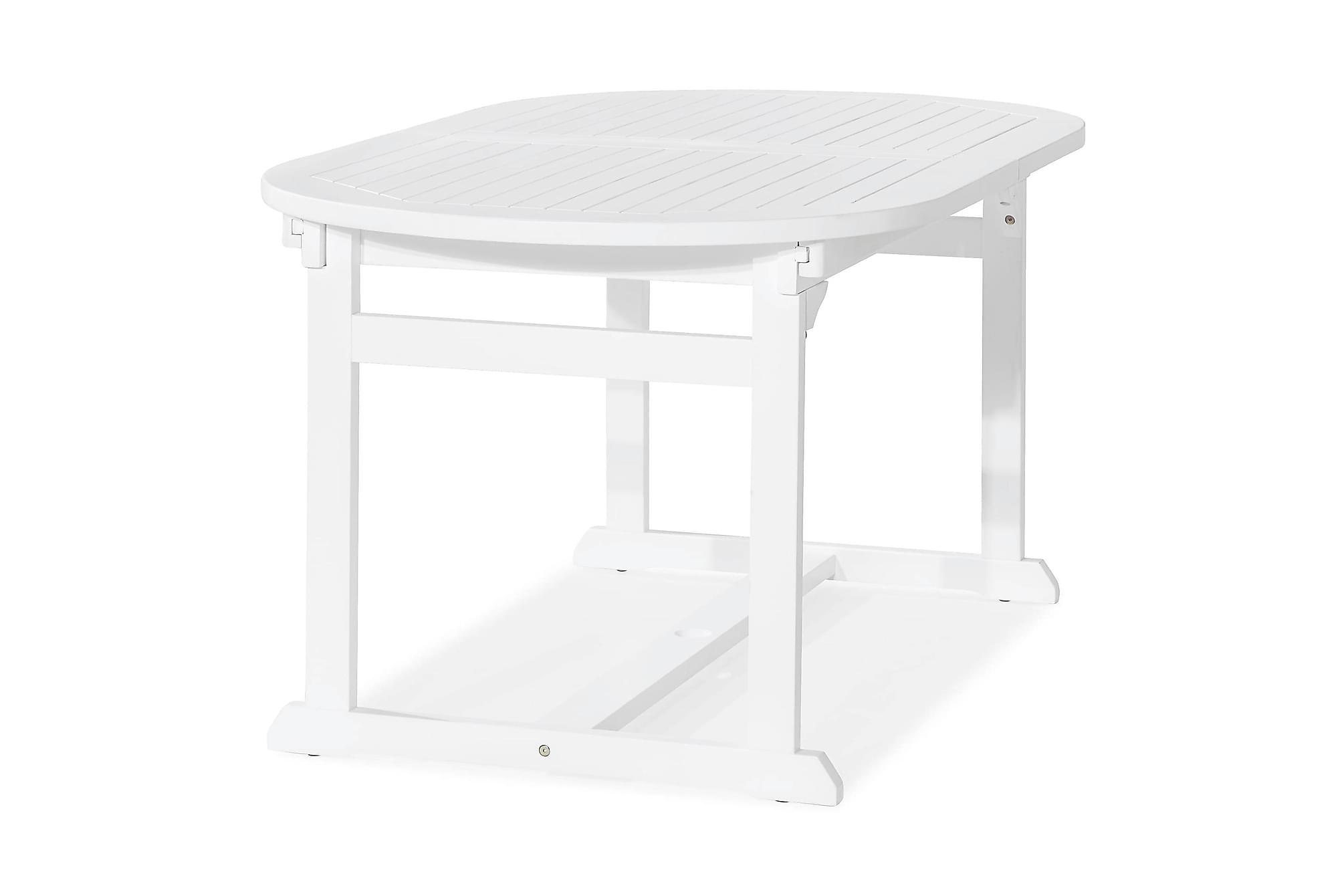 DALARÖ Förlängningsbart Matbord 150-200×72 Ovalt Vit Akacia