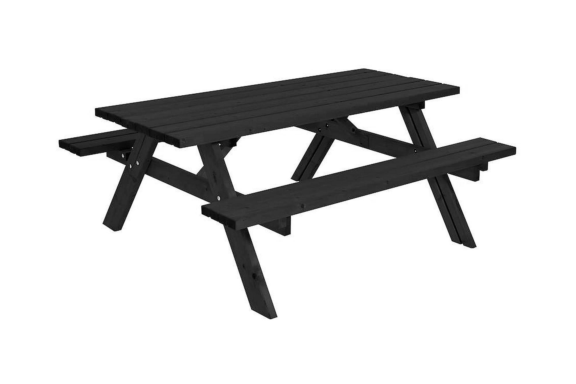 GUDRUN Picknickbord med Bänk 177 Svart, Bänkbord