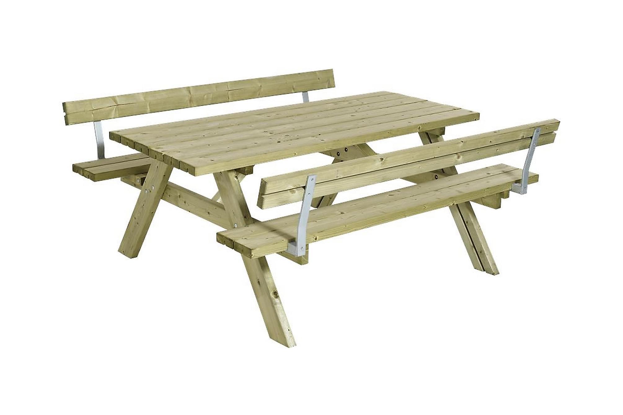 GUDRUN Picknickbord med Bänk med Ryggstöd Trä, Bänkbord