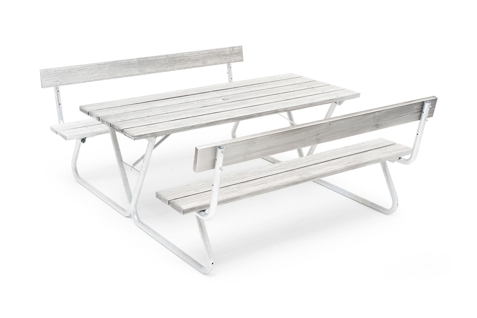 HILLERSTORP PICNIC Picknickbord Bastant Med Rygg Whitewash, Bänkbord