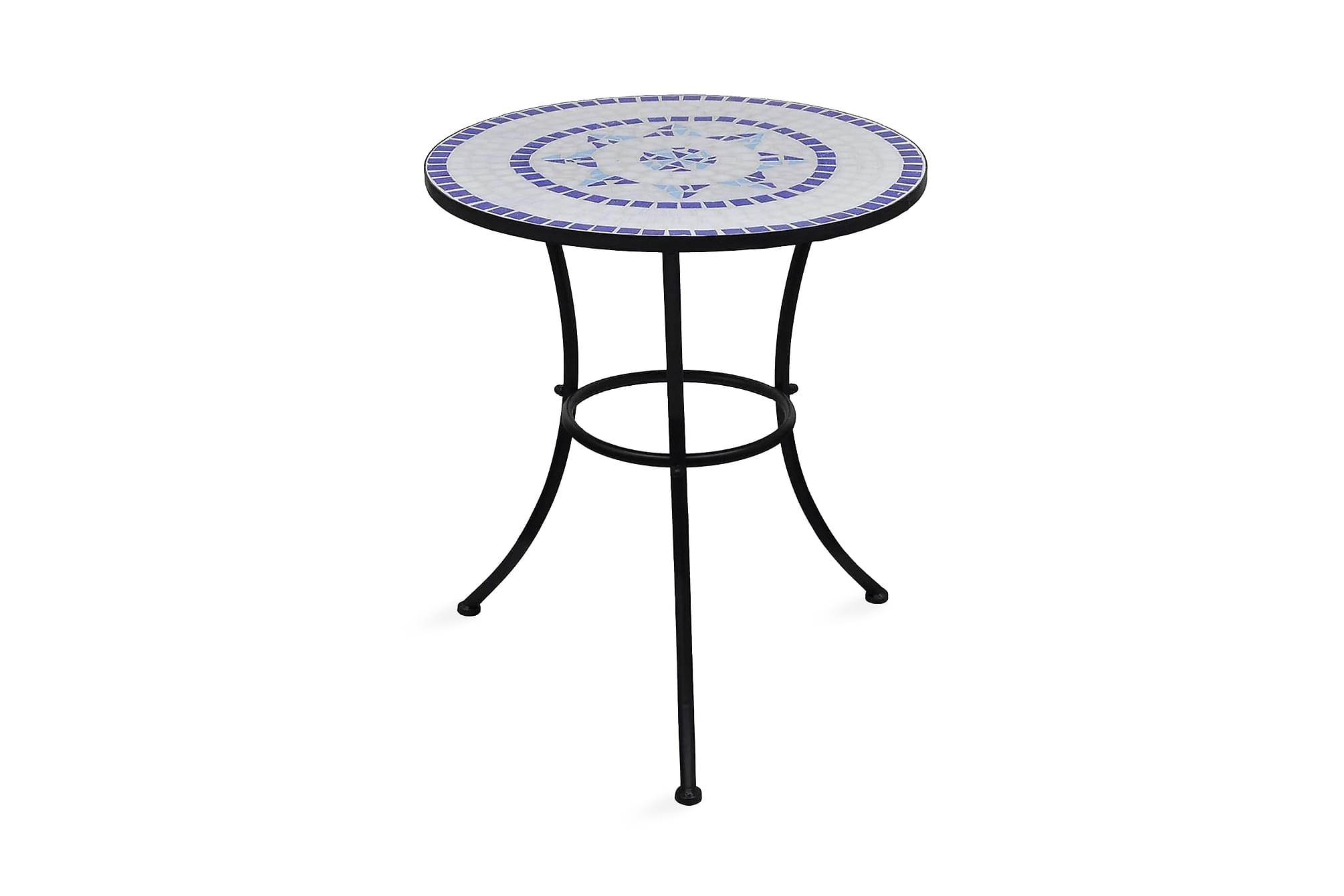 Caféset blå och vit 60 cm mosaik, Cafebord
