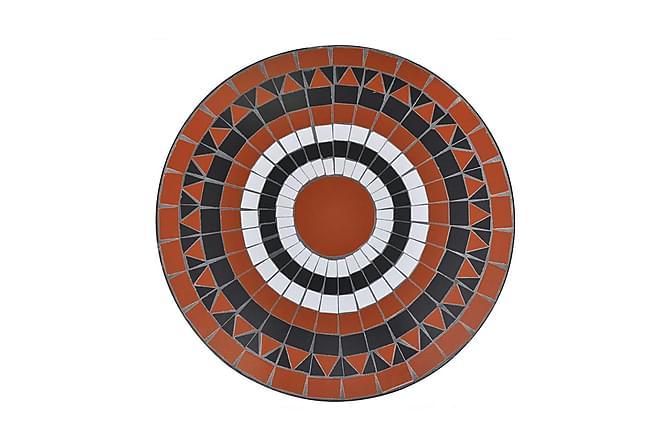 Caféset terrakotta och vit 60 cm mosaik - Orange|Vit - Utemöbler - Utebord - Cafebord