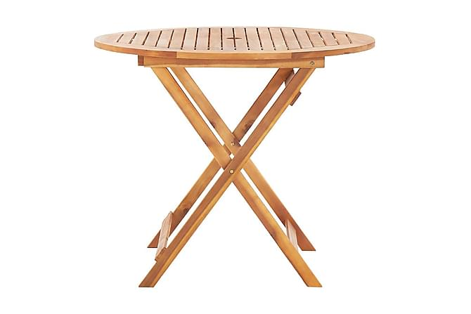 Hopfällbart trädgårdsbord 90x75 cm massivt akaciaträ - Brun - Utemöbler - Balkongmöbler - Balkongbord
