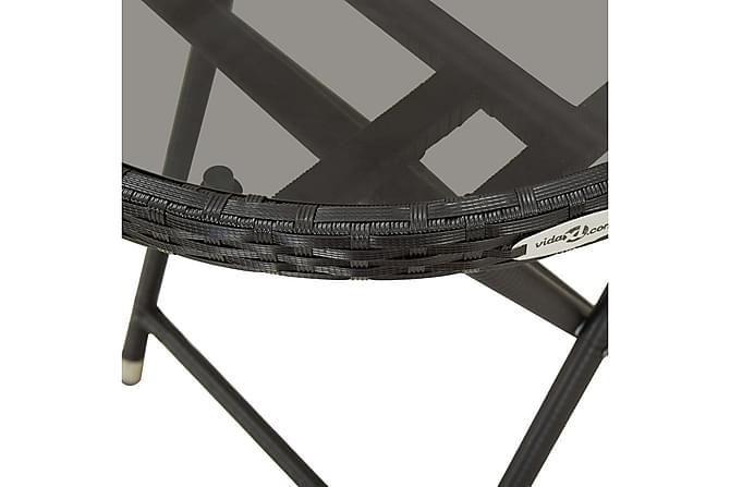 Tebord svart 60 cm härdat glas - Svart - Utemöbler - Utebord - Cafebord