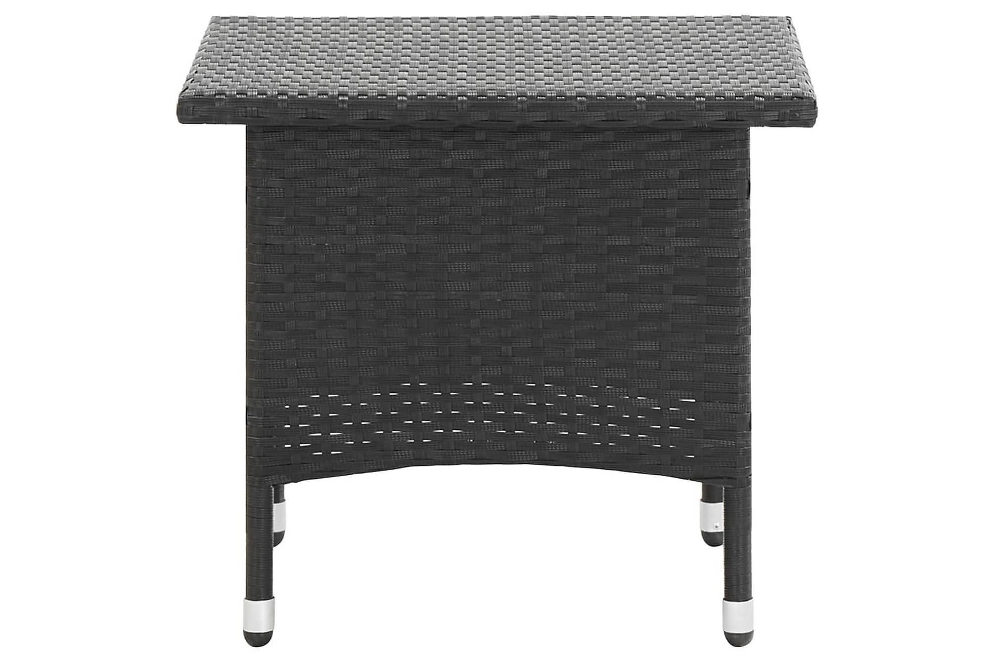 Trädgårdsbord svart 50x50x47 cm konstrotting