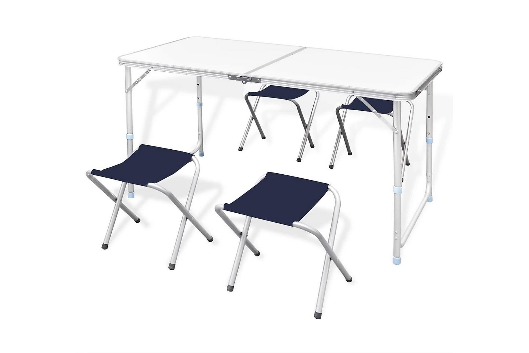 Campingbord m. 4 pallar set Aluminium 120 x 60 cm