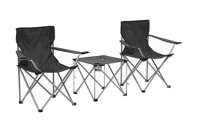 Campingbord och stolar 3 delar grå - Grå - Utemöbler - Utebord - Campingbord