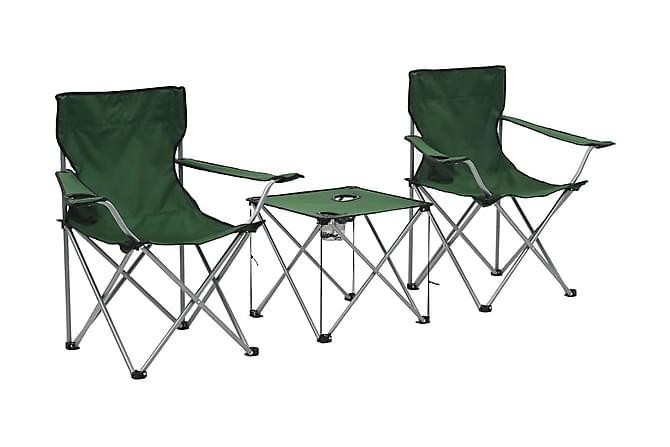 Campingbord och stolar 3 delar grön - Utemöbler - Utebord - Matgrupper utomhus