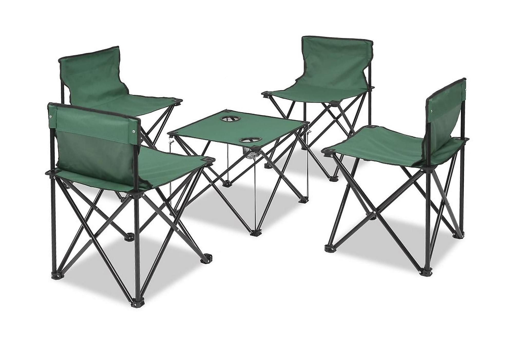 Hopfällbara campingmöbler 5 delar grön 45x45x70 cm stål