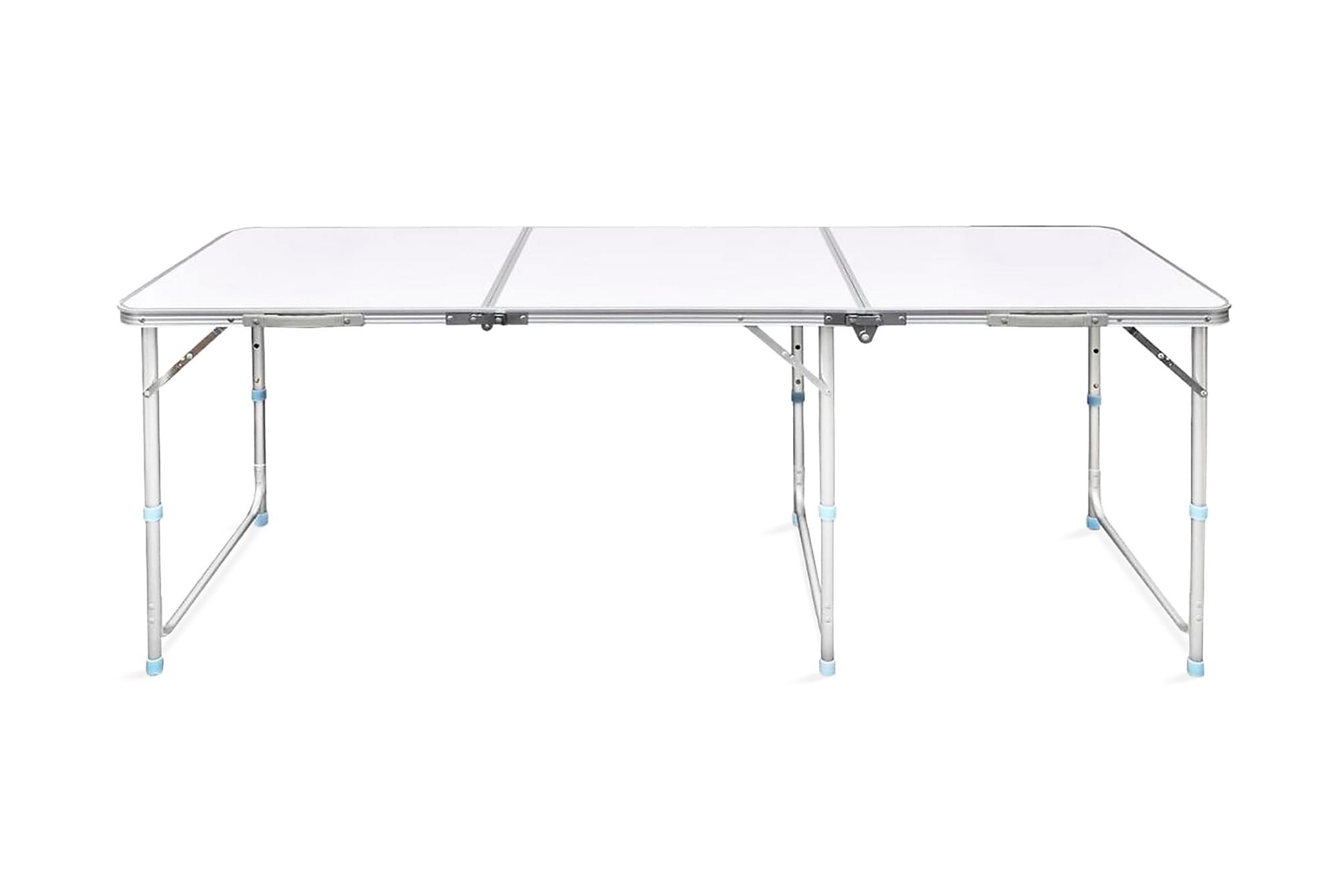 Hopfällbart campingbord m. justerbar höjd Aluminium 180x60cm, Campingbord