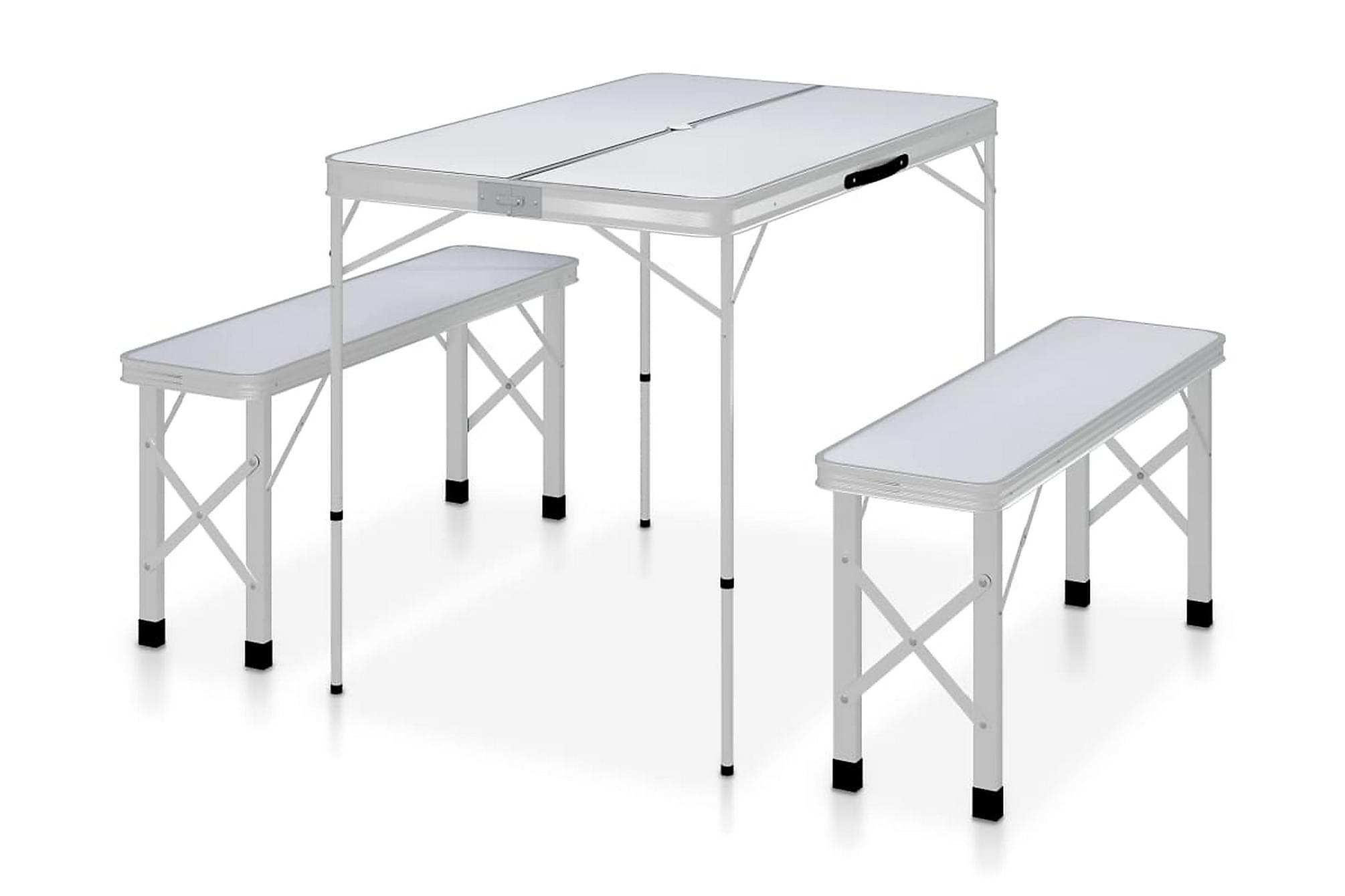 Hopfällbart campingbord med 2 bänkar aluminium vit, Campingstol