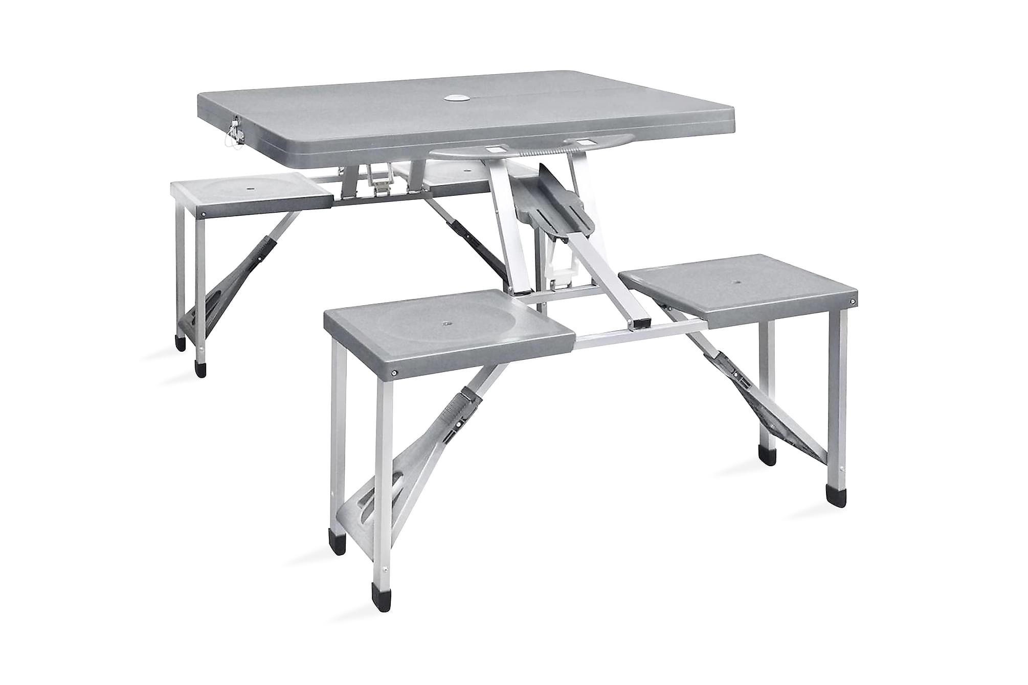 Hopfällbart campingbord med 4 stolar i aluminium ljusgrått, Campingbord