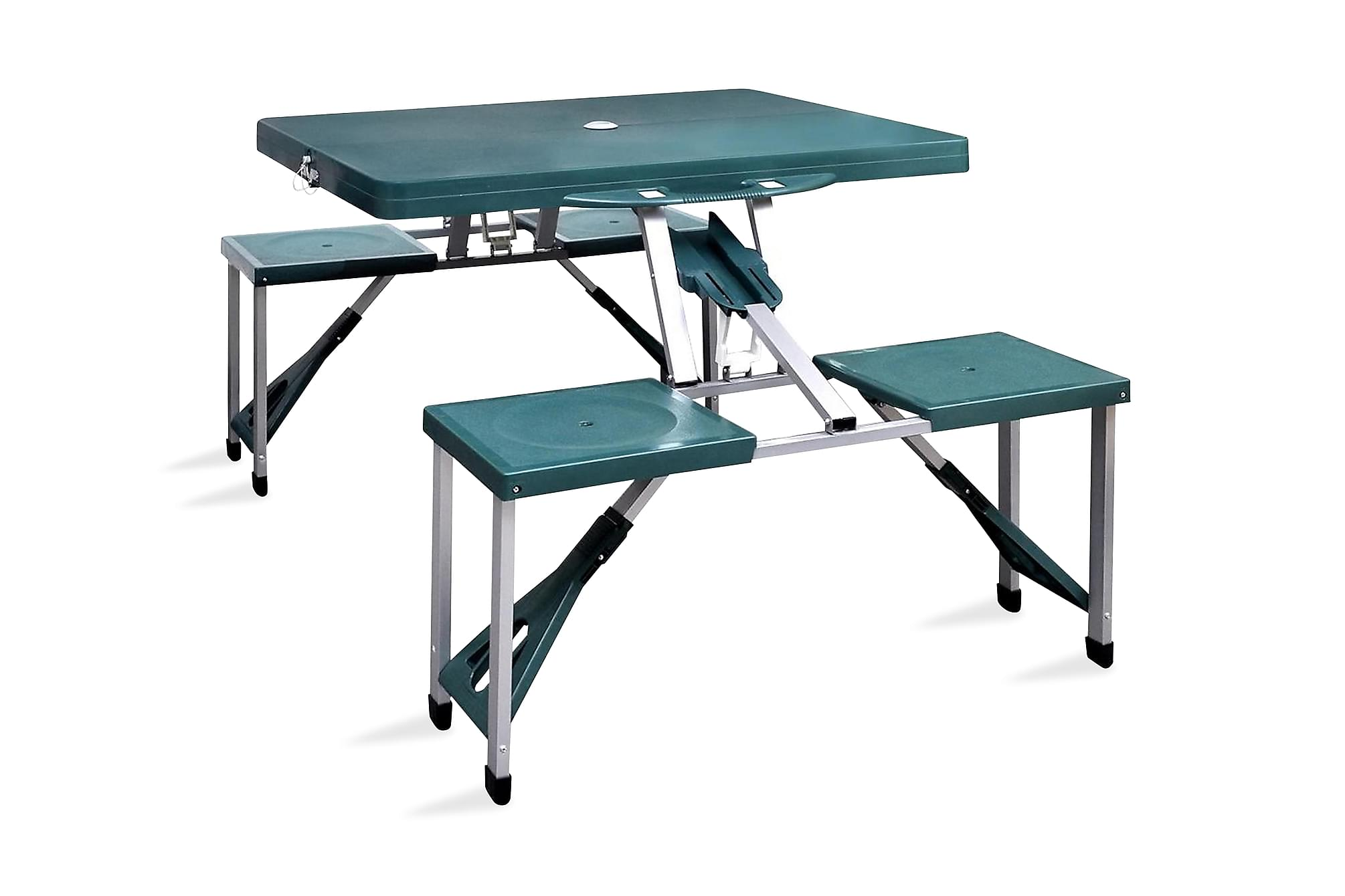 Hopfällbart campingbord m. 4 stolar i aluminium ljusgrönt